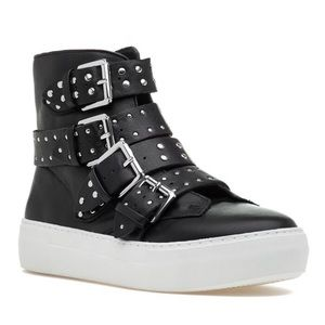 J Slides black leather high top sneakers studs 9